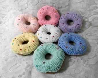 Crochet Donut Pincushion - Doughnut Cake Bun Pin Cushion with Pins - Rainbow Iced Food Handmade Sewing Equipment Craft Organiser Gift