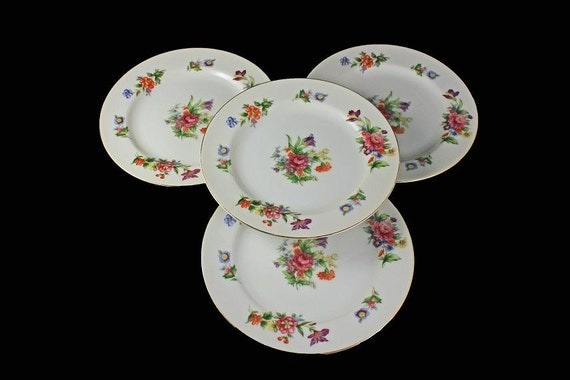 Bread and Butter Plates, Sango China, Occupied Japan, Floradel, Floral Pattern, Set of 4  Multifloral, Gold Trim
