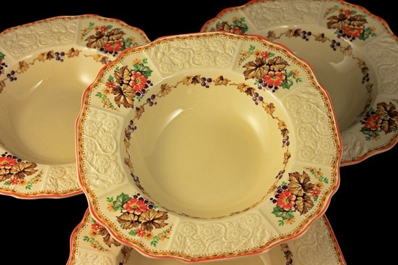 Rim Soup Bowls, Myott Staffordshire, Embossed, Grapes, Flowers, and Leaves, Cream Colored, Hard to Find, Made In England, Set of 4
