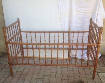 Former child bamboo rattan bed removable 50 Vintage year