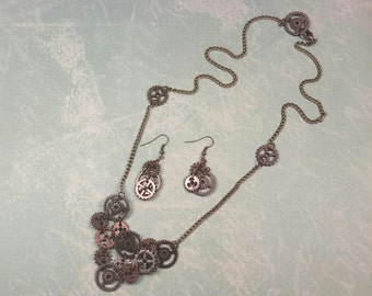 One-of-a-kind Steampunk Gear Necklace and Earring Set.