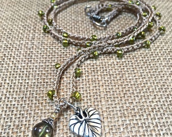 Long crocheted necklace, bohemian crochet necklace, boho layering necklace, organic green/earthy, leaf charm, beaded crocheted jewelry