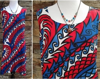 60s red, white and blue psychedelic sleeveless sheath - medium