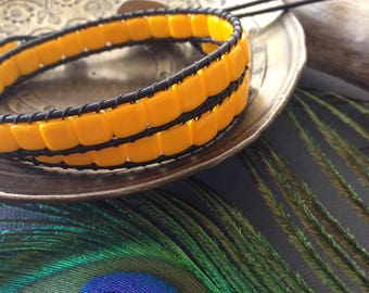 Sunshine Yellow Tile Bead Leather Wrap Bracelet