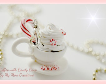 Coffee with Candy Cane Necklace, Polymer Clay, Miniature Food, Miniature Food Jewelry