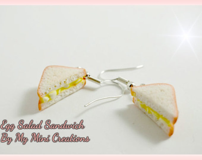 Egg Salad Sandwich Earrings, Miniature Food, Miniature Food Jewelry, Food Jewelry