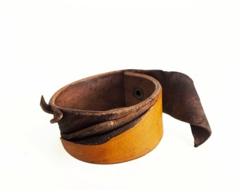 orange plum leather braclet rustic leather bracelet made of vegetable tanned leather Hand dyed leather bracelet