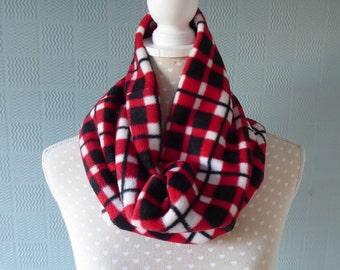 Red tartan snood, red tartan cowl loop scarf, red plaid cowl, loop, snood