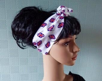 Union Jack hair scarf, union jack bandana,  UK flag headband, British flag hair wrap, red white and blue hairscarf