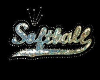 Softball - Silver or Gold or Neon Yellow - Mascots - Iron on Transfer - Sequin and Rhinestone - J8221