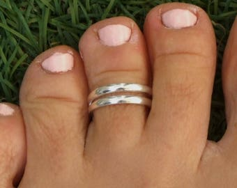 Silver Toe Ring, Silver Knuckle Ring, Silver Adjustable Ring, Double Band Ring, Double Lines Ring