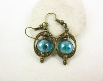 Teal Glass Earrings, Dangle Earrings, Brass Earrings, Handmade Earrings, Glass Jewelry, Brass Jewelry, Rustic Jewelry, Boho Jewelry