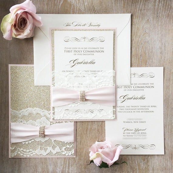 GABRIELLA - Lace Pocket Communion Invitation- Blush Pink and Gold Glitter with Ivory Lace Pocket, Blush Ribbon and Gold Rhinestone Brooch