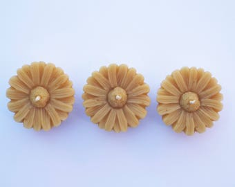 Pure Devon Beeswax Candles, 3 Sunflower Candles, Unscented Candles, Natural Wax Candles