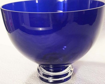 Very Large Cobalt Blue Pedestal Bowl Illusions Crystal