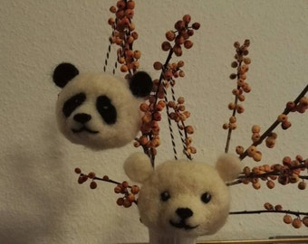 Panda and ice bear Ornament (needle felted)