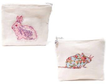 Mouse Coin Purse, Rabbit Applique Bag, Rabbit Applique Mouse, Floral Mouse, Floral Coin Purse