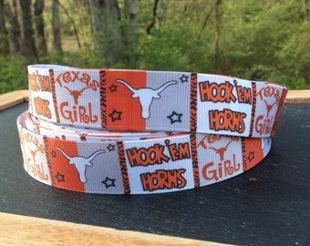 Texas Longhorns Ribbon/Texas Girl Ribbon/Hook em Horns/University of Texas Football Ribbon 3/5/10 yards