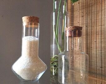 Vintage Glass Jars w. Cork Lids • Set of (3) Glass Canisters •