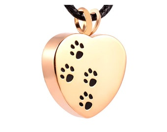 Pet Cremation Jewellery, Paws On Heart Gold plated Stainless Steel