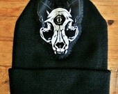 Third Eye Cat Skull Hand Stitched Patch Beanie, 2016