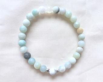 callisto beaded bracelet: matte amazonite