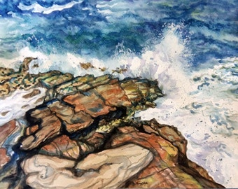 """Original Watercolor painting, Rocky Coast, 1702234, 11""""x14"""", waves, water, seascape, blue"""