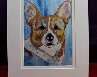 Cardigan Welsh Corgi Matted Print, Brown & White Corgi Painting, Abstract Blue Corgi Wall Art, Dog Art For her, Him, Children, Mother's Day