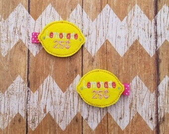 Lemonade hair clips, lemon hair clips, lemonade clippies, felt hair clips, clippie set, girls hair clips, toddler hair clips, lemonade stand
