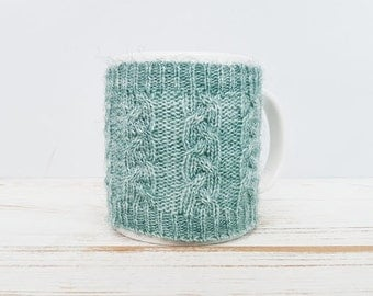 Mug Sweater, Cup Cozy, Reusable Coffee Sleeve Hand Protector, Drink Grip, Mint Green