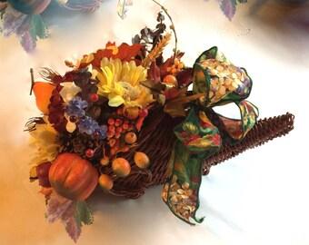 Cornucopia Thanksgiving/Fall  Centerpiece, Artificial/Silk flowers,Faux Fruit-Touch of blue