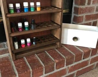 Essential oil Shelf Storage shelf 96ct with drawer / holds 96 bottles - honey stain finish