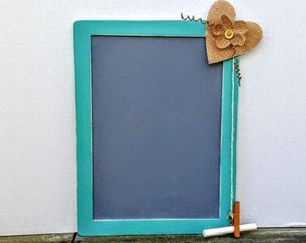 Teal Chalkboard, Blackboard, Cottage Chic, Decorated, Farmhouse Decor