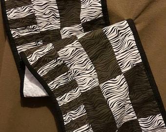 Black and white zebra animal print table runner