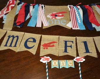 Time Flies Party Package, Airplane Birthday Decorations, Airplane Banner, Airplane Cake Topper, Time Flies Garland, First Birthday Boy, 1st