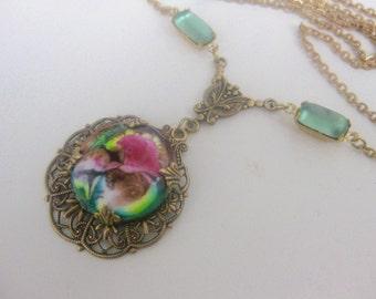 old brass chain m. vintage enamel pendant