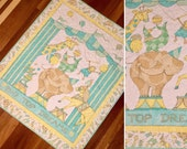 "Handmade circus quilt, baby quilt, baby blanket, gender neutral quilt circua quilt, animal quilt. Susan Winget fabric, 39"" x 46"""