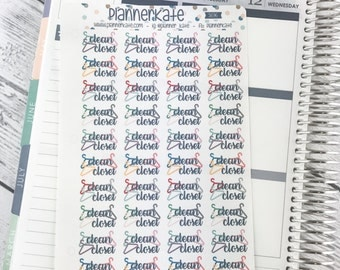 S696 || CLEAN CLOSET Stickers for Planner (40 Removable Matte Stickers)