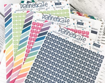 I-500 || Itty Bitty Custom INITIAL SQUARES for Planner (345 Removable Matte Stickers) -- You pick letter & color
