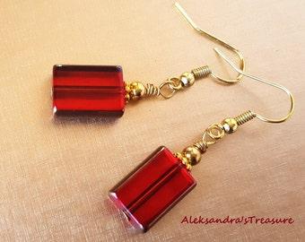 Red & Gold Earrings, Rectangular Beads Earrings, Pretty, Delicate Earrings, Earrings for Women, Handmade Earrings, Valentines Gift For Her