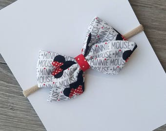 Minnie mouse bow, Minnie mouse fabric bow, red Minnie mouse bow, fabric bow, sailor Minnie mouse bow