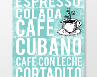 Cuban Coffee Subway Art Print - Word Art Poster