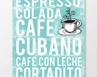 Cuban Coffee Subway Art Print - Word Art Poster
