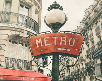 Paris Photography, Metro Sign Photo, Large Art, Wall Art Print, Montmartre Picture, Red Wall Decor, Rustic French Art, Paris Photograph