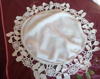 French Victorian Art Nouveau Hand Crochet cotton Table Cloth.