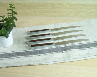 Set of 4 vintage knives | Bakelite and aluminum handle | Stainless steel Narval blade Made in  France vintage 1940