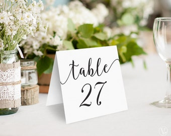 Wedding Table Numbers, Printable Tent Style Table Numbers Template, Kraft Paper Table Numbers, INSTANT DOWNLOAD, 5x5 Folded, VW10
