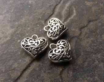 Filigree Puffed Heart Charms Package of 3 Valentines Day charms or pendants Great Quality!