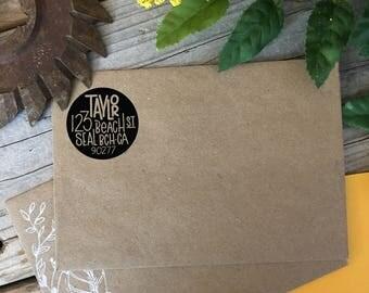 Custom Rubber Stamp Design, CRISP CIRCLE, Return Address, Rubber Stamp, Modern Calligraphy Wood Stamp, Hand Lettered Stamp