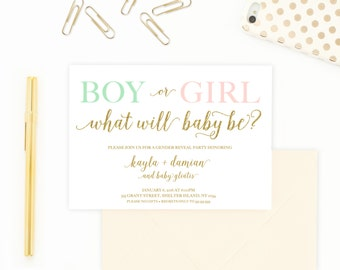 Gender Reveal Invitation, Gender Reveal Party, Gender Reveal, Boy Or Girl, Reveal Party Invitation, Gender Reveal Party Invitation [363]